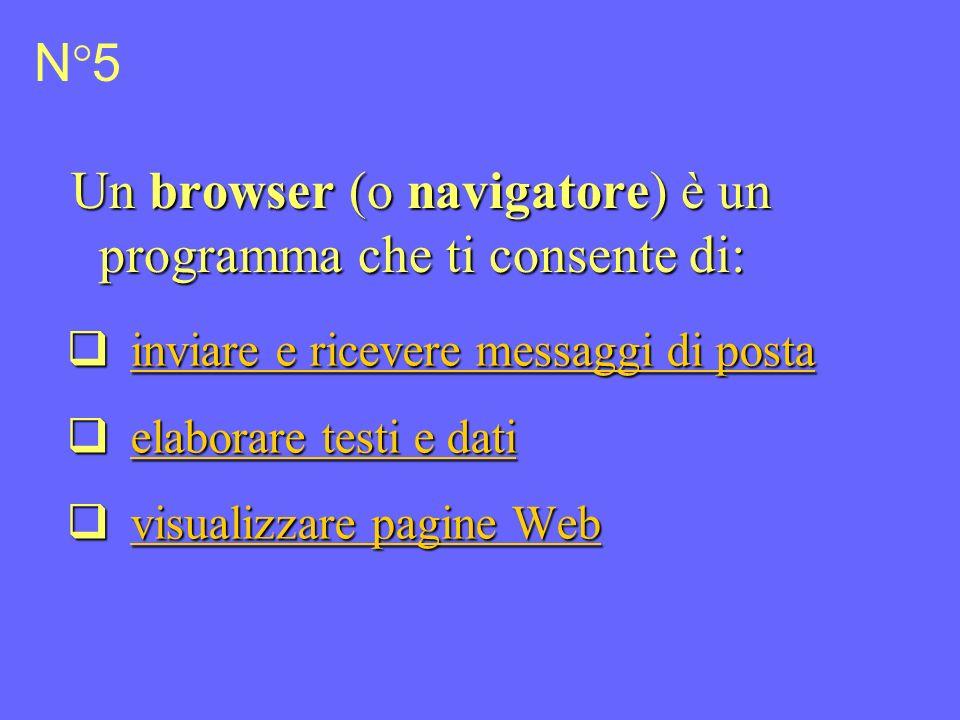 N°6 Un browser (o navigatore) è un programma in grado di interpretare il codice HTML.