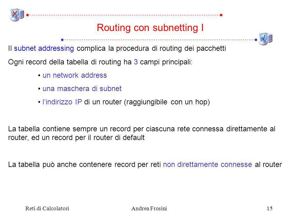 Reti di CalcolatoriAndrea Frosini15 Il subnet addressing complica la procedura di routing dei pacchetti Ogni record della tabella di routing ha 3 campi principali: un network address una maschera di subnet lindirizzo IP di un router (raggiungibile con un hop) La tabella contiene sempre un record per ciascuna rete connessa direttamente al router, ed un record per il router di default La tabella può anche contenere record per reti non direttamente connesse al router Routing con subnetting I