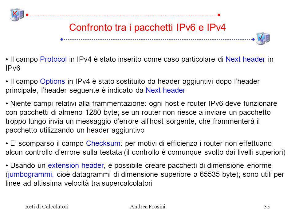 Reti di CalcolatoriAndrea Frosini35 Confronto tra i pacchetti IPv6 e IPv4 Il campo Protocol in IPv4 è stato inserito come caso particolare di Next header in IPv6 Il campo Options in IPv4 è stato sostituito da header aggiuntivi dopo lheader principale; lheader seguente è indicato da Next header Niente campi relativi alla frammentazione: ogni host e router IPv6 deve funzionare con pacchetti di almeno 1280 byte; se un router non riesce a inviare un pacchetto troppo lungo invia un messaggio derrore allhost sorgente, che frammenterà il pacchetto utilizzando un header aggiuntivo E scomparso il campo Checksum: per motivi di efficienza i router non effettuano alcun controllo derrore sulla testata (il controllo è comunque svolto dai livelli superiori) Usando un extension header, è possibile creare pacchetti di dimensione enorme (jumbogrammi, cioè datagrammi di dimensione superiore a 65535 byte); sono utili per linee ad altissima velocità tra supercalcolatori