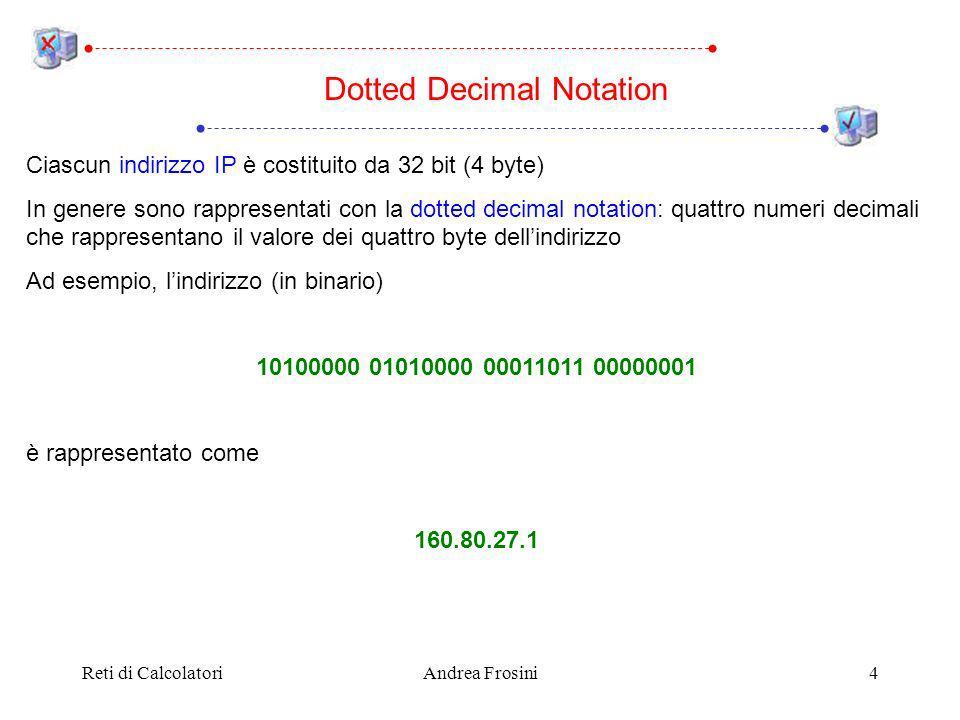 Reti di CalcolatoriAndrea Frosini4 Ciascun indirizzo IP è costituito da 32 bit (4 byte) In genere sono rappresentati con la dotted decimal notation: quattro numeri decimali che rappresentano il valore dei quattro byte dellindirizzo Ad esempio, lindirizzo (in binario) 10100000 01010000 00011011 00000001 è rappresentato come 160.80.27.1 Dotted Decimal Notation