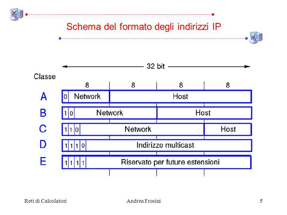 Reti di CalcolatoriAndrea Frosini26 In Internet ogni AS è gestito da una singola autorità, che può scegliere liberamente lalgoritmo di routing da adottare allinterno dellAS Il routing allinterno di ciascun AS è gestito da un algoritmo interior gateway protocol (o IGP); ad esempio: – RIP (Routing Information Protocol), di tipo distance vector (oggi quasi scomparso) – OSPF (Open Shortest Path First), di tipo link state Il routing tra gli AS è gestito da un algoritmo exterior gateway protocol (o EGP) – EGP era anche il nome del primo algoritmo utilizzato in Internet, oggi abbandonato – BGP (Border Gateway Protocol), essenzialmente di tipo distance vector Protocolli di routing per Internet
