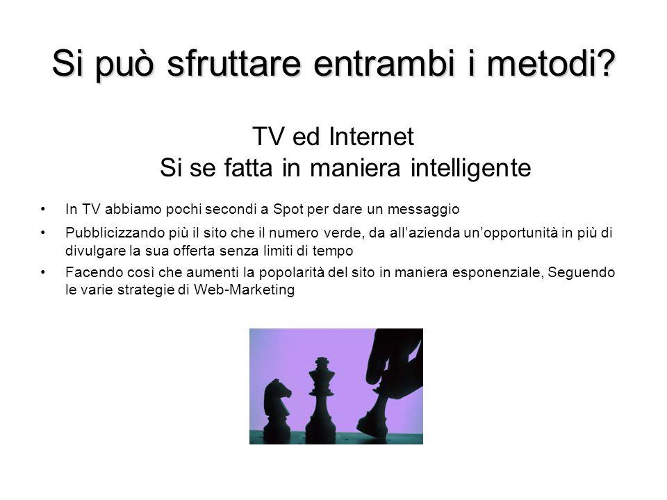 Si può sfruttare entrambi i metodi? TV ed Internet Si se fatta in maniera intelligente In TV abbiamo pochi secondi a Spot per dare un messaggio Pubbli