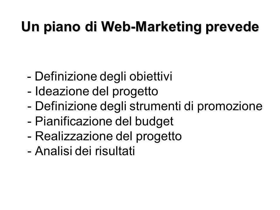 Un piano di Web-Marketing prevede - Definizione degli obiettivi - Ideazione del progetto - Definizione degli strumenti di promozione - Pianificazione