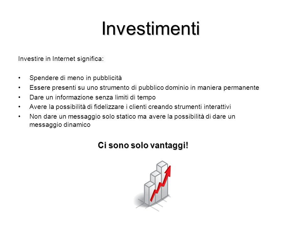 Investimenti Investire in Internet significa: Spendere di meno in pubblicità Essere presenti su uno strumento di pubblico dominio in maniera permanent