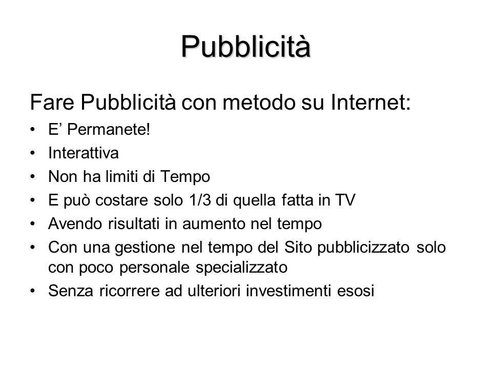 Pubblicità Fare Pubblicità con metodo su Internet: E Permanete! Interattiva Non ha limiti di Tempo E può costare solo 1/3 di quella fatta in TV Avendo