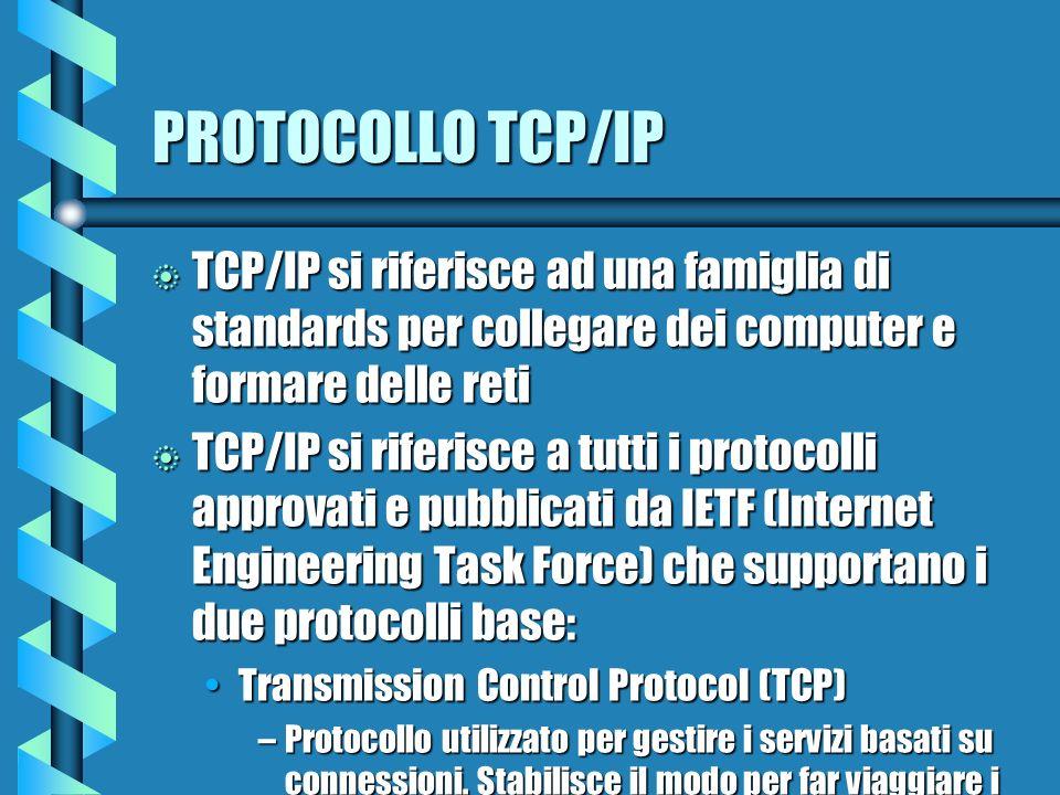 PROTOCOLLO TCP/IP b TCP/IP si riferisce ad una famiglia di standards per collegare dei computer e formare delle reti b TCP/IP si riferisce a tutti i protocolli approvati e pubblicati da IETF (Internet Engineering Task Force) che supportano i due protocolli base: Transmission Control Protocol (TCP)Transmission Control Protocol (TCP) –Protocollo utilizzato per gestire i servizi basati su connessioni.