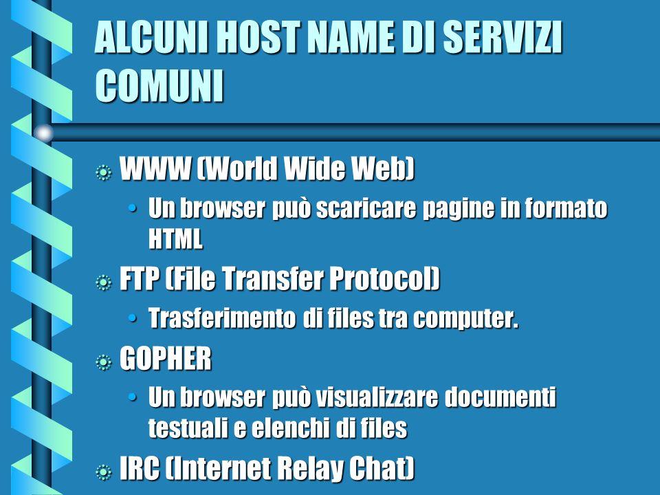 ALCUNI HOST NAME DI SERVIZI COMUNI b WWW (World Wide Web) Un browser può scaricare pagine in formato HTMLUn browser può scaricare pagine in formato HTML b FTP (File Transfer Protocol) Trasferimento di files tra computer.Trasferimento di files tra computer.