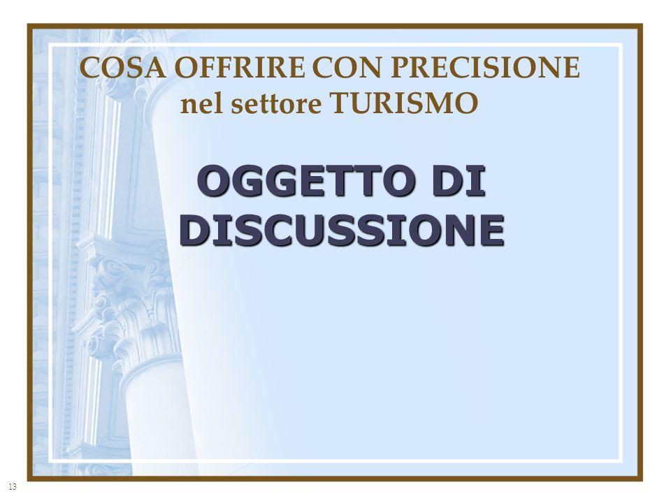 13 COSA OFFRIRE CON PRECISIONE nel settore TURISMO OGGETTO DI DISCUSSIONE
