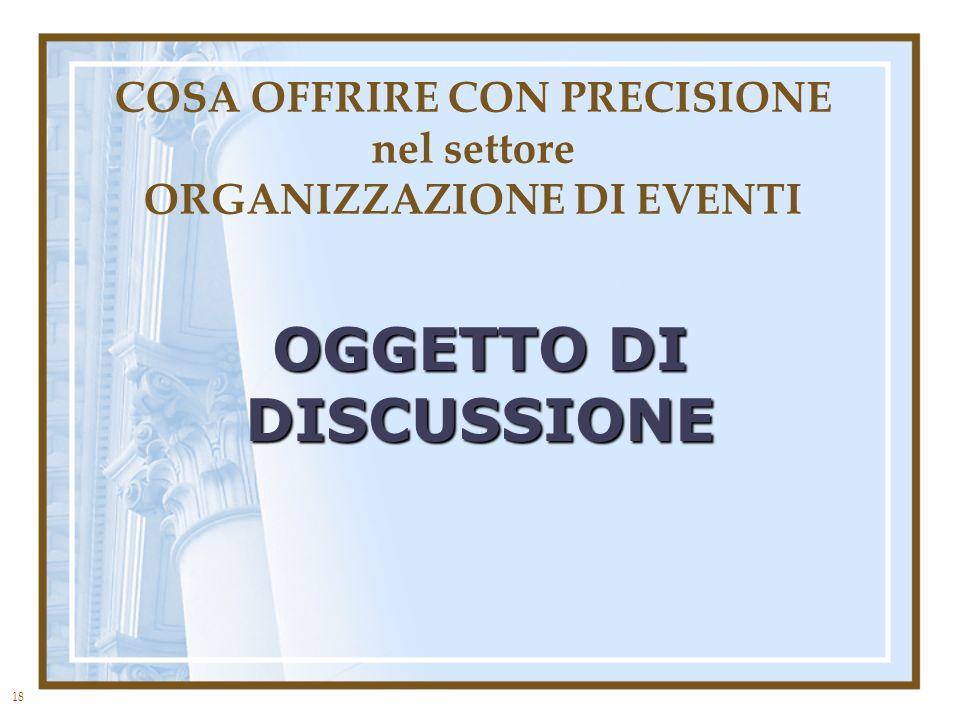 18 COSA OFFRIRE CON PRECISIONE nel settore ORGANIZZAZIONE DI EVENTI OGGETTO DI DISCUSSIONE