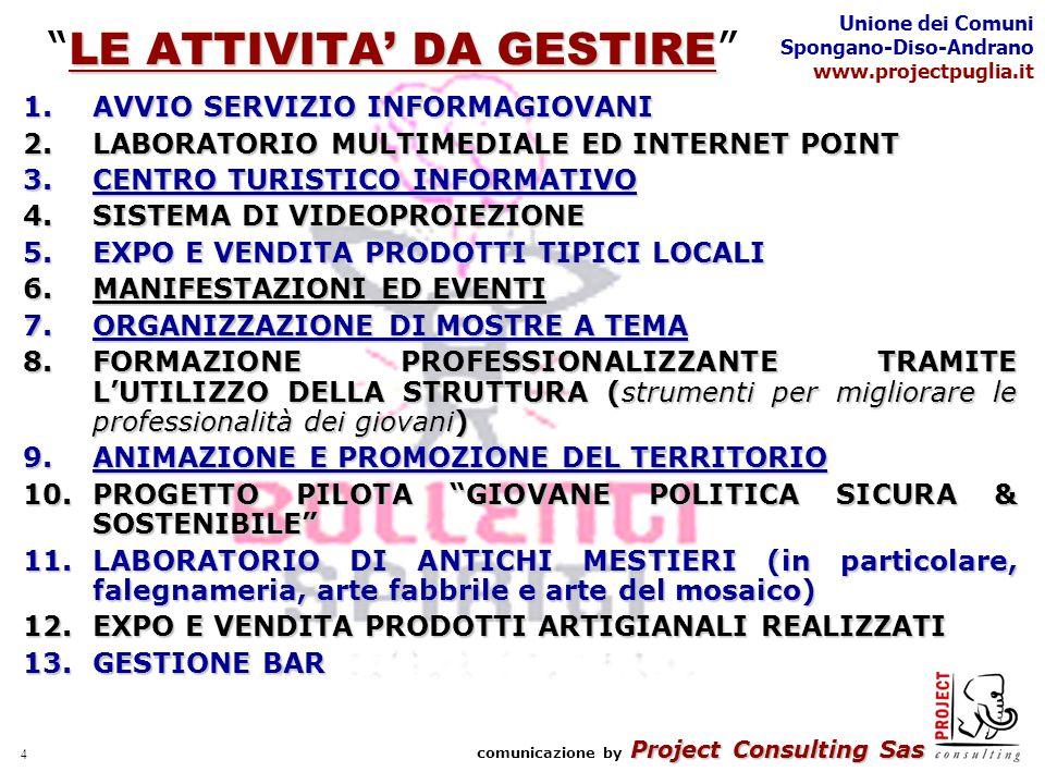 Project Consulting Sas comunicazione by Project Consulting Sas Unione dei Comuni Spongano-Diso-Andrano www.projectpuglia.it 4 LE ATTIVITA DA GESTIRE LE ATTIVITA DA GESTIRE 1.AVVIO SERVIZIO INFORMAGIOVANI 2.LABORATORIO MULTIMEDIALE ED INTERNET POINT 3.CENTRO TURISTICO INFORMATIVO 4.SISTEMA DI VIDEOPROIEZIONE 5.EXPO E VENDITA PRODOTTI TIPICI LOCALI 6.MANIFESTAZIONI ED EVENTI 7.ORGANIZZAZIONE DI MOSTRE A TEMA 8.FORMAZIONE PROFESSIONALIZZANTE TRAMITE LUTILIZZO DELLA STRUTTURA (strumenti per migliorare le professionalità dei giovani) 9.ANIMAZIONE E PROMOZIONE DEL TERRITORIO 10.PROGETTO PILOTA GIOVANE POLITICA SICURA & SOSTENIBILE 11.LABORATORIO DI ANTICHI MESTIERI (in particolare, falegnameria, arte fabbrile e arte del mosaico) 12.EXPO E VENDITA PRODOTTI ARTIGIANALI REALIZZATI 13.GESTIONE BAR