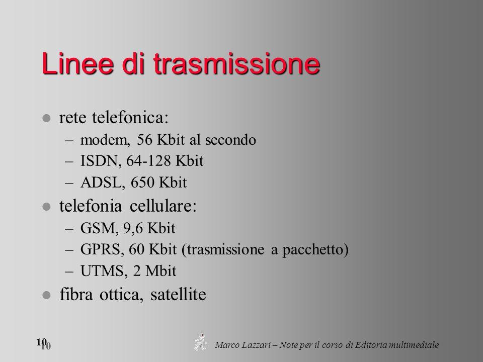 Marco Lazzari – Note per il corso di Editoria multimediale 10 Linee di trasmissione l rete telefonica: –modem, 56 Kbit al secondo –ISDN, 64-128 Kbit –ADSL, 650 Kbit l telefonia cellulare: –GSM, 9,6 Kbit –GPRS, 60 Kbit (trasmissione a pacchetto) –UTMS, 2 Mbit l fibra ottica, satellite