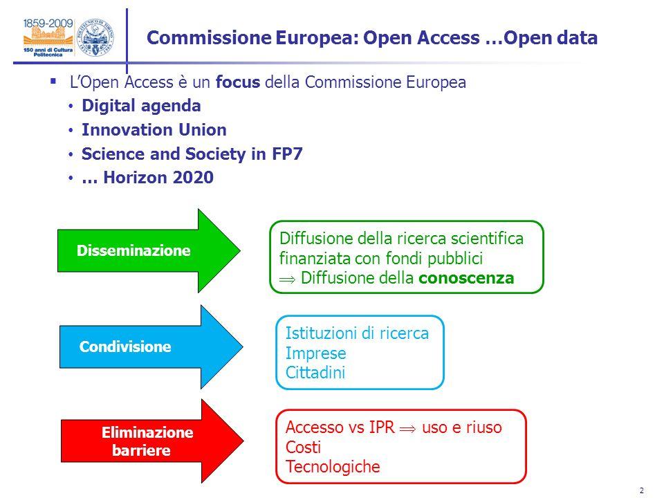2 2 LOpen Access è un focus della Commissione Europea Digital agenda Innovation Union Science and Society in FP7 … Horizon 2020 Commissione Europea: O