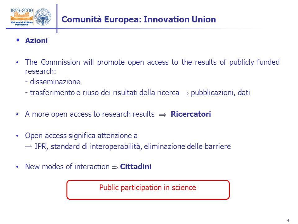 4 4 Azioni The Commission will promote open access to the results of publicly funded research: - disseminazione - trasferimento e riuso dei risultati