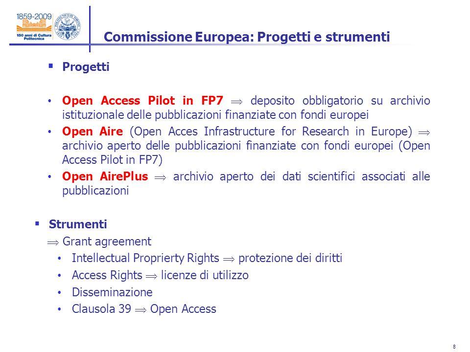 8 8 Progetti Open Access Pilot in FP7 deposito obbligatorio su archivio istituzionale delle pubblicazioni finanziate con fondi europei Open Aire (Open