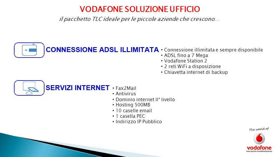 VODAFONE SOLUZIONE UFFICIO Connessione illimitata e sempre disponibile ADSL fino a 7 Mega Vodafone Station 2 2 reti WiFi a disposizione Chiavetta inte