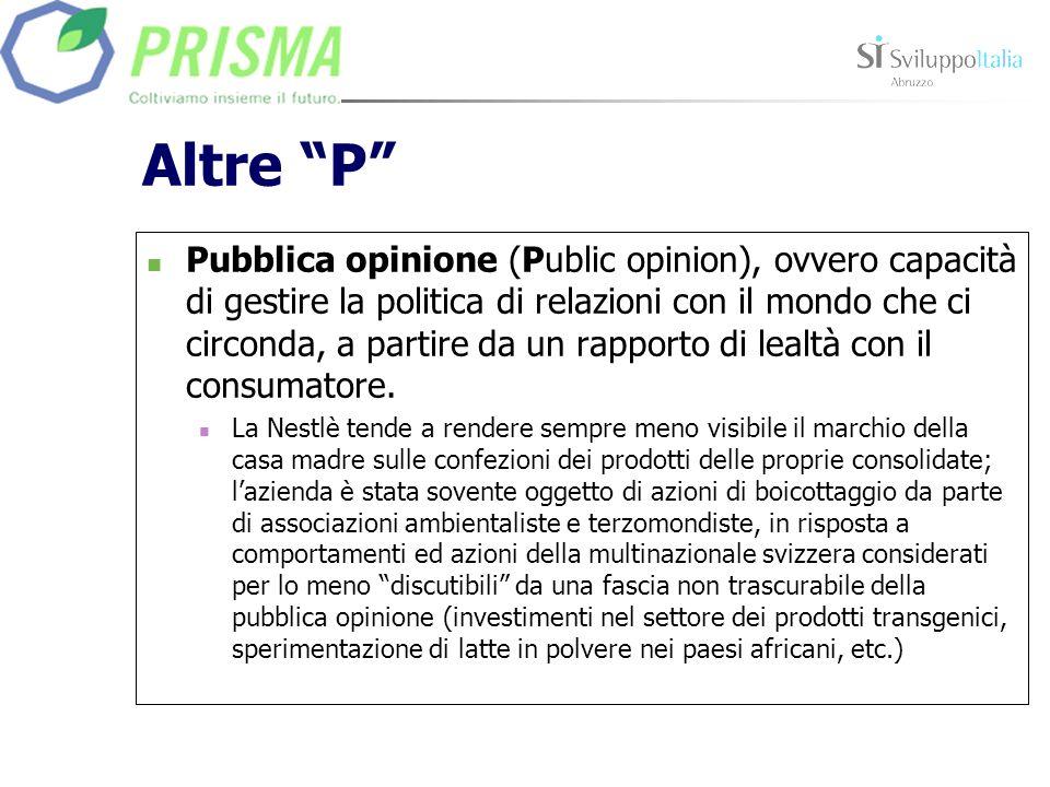Altre P Pubblica opinione (Public opinion), ovvero capacità di gestire la politica di relazioni con il mondo che ci circonda, a partire da un rapporto di lealtà con il consumatore.