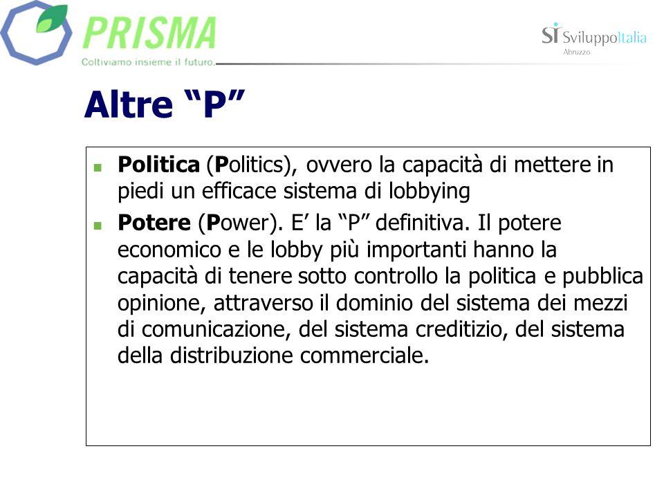 Altre P Politica (Politics), ovvero la capacità di mettere in piedi un efficace sistema di lobbying Potere (Power). E la P definitiva. Il potere econo