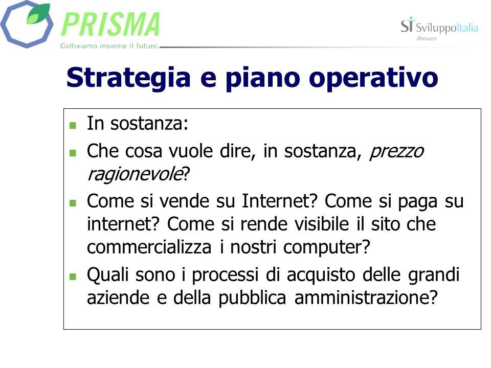 Strategia e piano operativo In sostanza: Che cosa vuole dire, in sostanza, prezzo ragionevole? Come si vende su Internet? Come si paga su internet? Co
