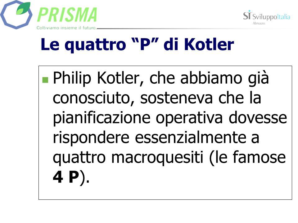 Le quattro P di Kotler Philip Kotler, che abbiamo già conosciuto, sosteneva che la pianificazione operativa dovesse rispondere essenzialmente a quattro macroquesiti (le famose 4 P).