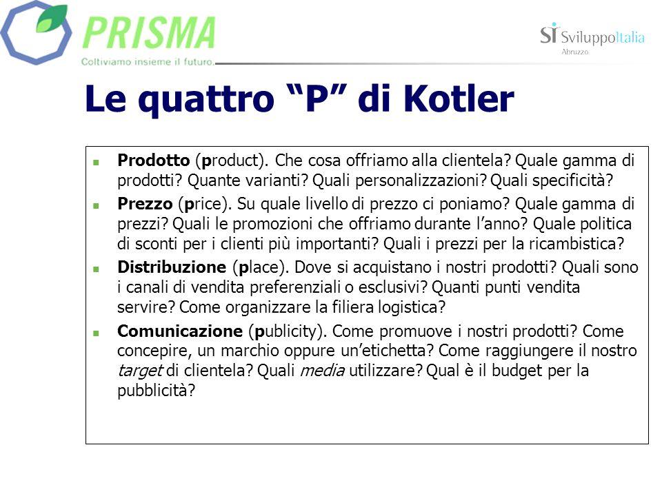Le quattro P di Kotler Prodotto (product). Che cosa offriamo alla clientela? Quale gamma di prodotti? Quante varianti? Quali personalizzazioni? Quali