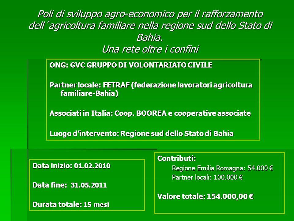 Poli di sviluppo agro-economico per il rafforzamento dell´agricoltura familiare nella regione sud dello Stato di Bahia.