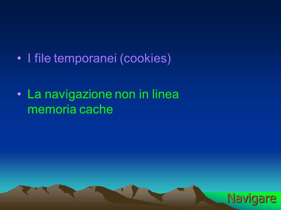 I file temporanei (cookies) La navigazione non in linea memoria cache Navigare