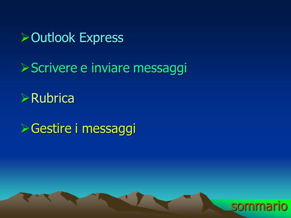 Outlook Express Scrivere e inviare messaggi Rubrica Gestire i messaggi sommario