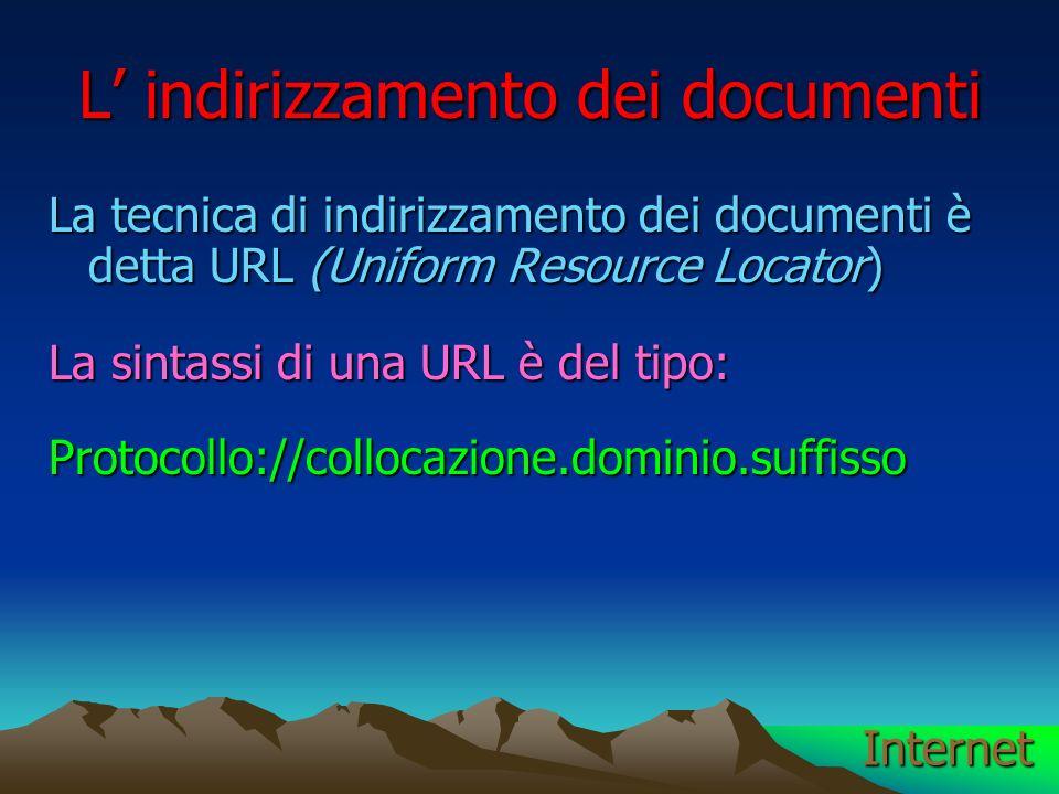 L indirizzamento dei documenti La tecnica di indirizzamento dei documenti è detta URL (Uniform Resource Locator) La sintassi di una URL è del tipo: Protocollo://collocazione.dominio.suffisso Internet