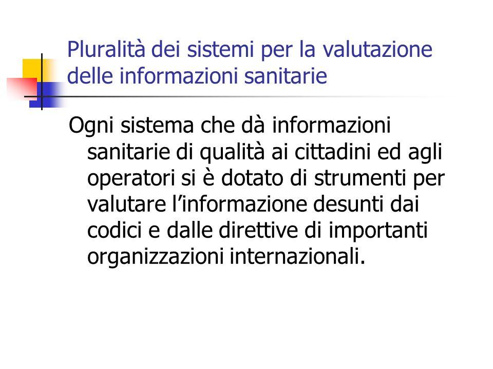 Pluralità dei sistemi per la valutazione delle informazioni sanitarie Ogni sistema che dà informazioni sanitarie di qualità ai cittadini ed agli operatori si è dotato di strumenti per valutare linformazione desunti dai codici e dalle direttive di importanti organizzazioni internazionali.