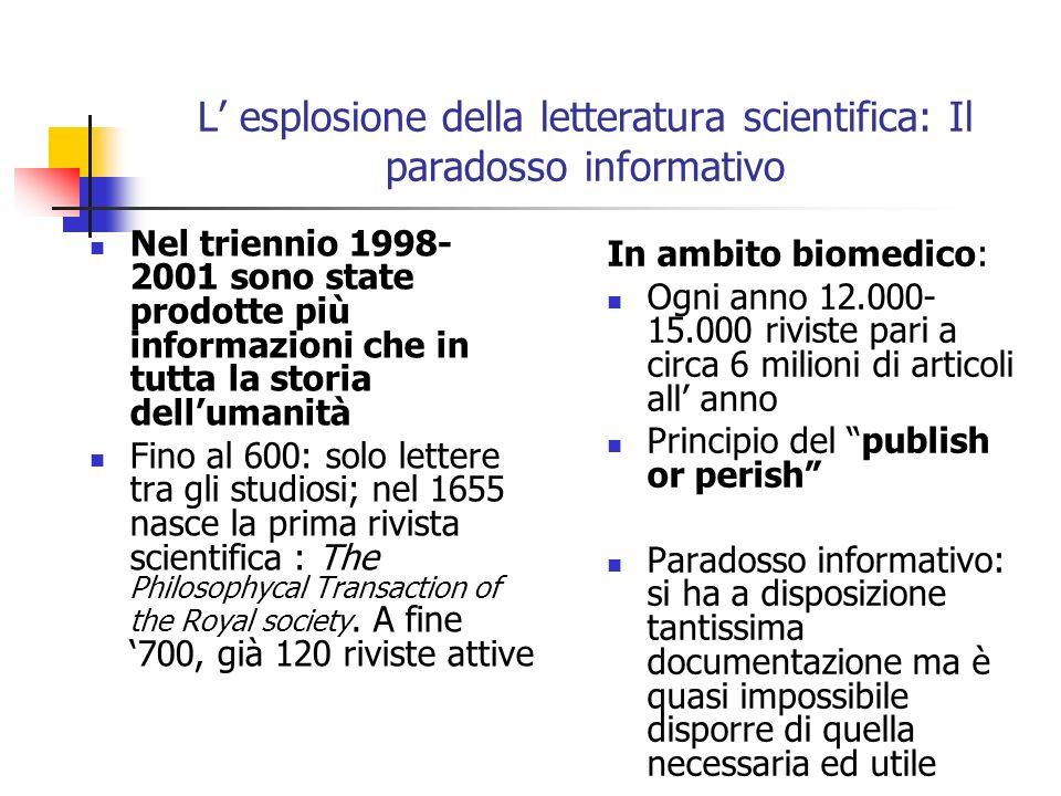 L esplosione della letteratura scientifica: Il paradosso informativo Nel triennio 1998- 2001 sono state prodotte più informazioni che in tutta la stor