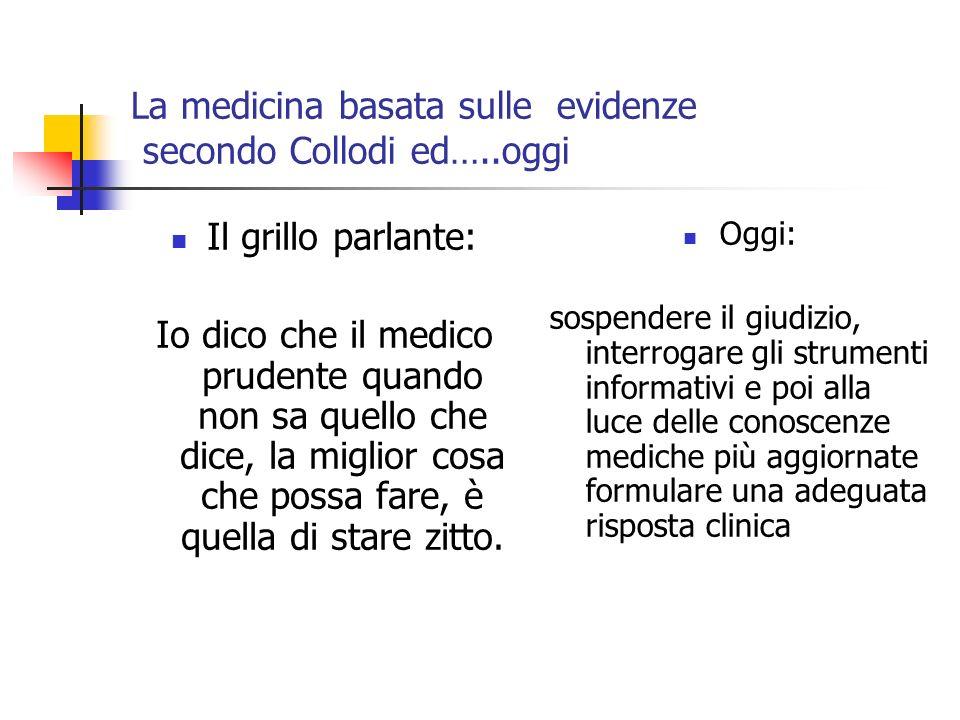 La medicina basata sulle evidenze secondo Collodi ed…..oggi Il grillo parlante: Io dico che il medico prudente quando non sa quello che dice, la miglior cosa che possa fare, è quella di stare zitto.