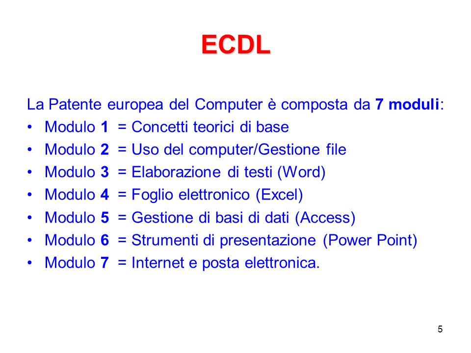 ECDL: syllabus Probabilmente il documento più importante sullECDL Il versione attuale è syllabus 5.0 Una descrizione dettagliata di tutti gli argomenti dellECDL Esempio (dal modulo 4 – foglio elettronico): –4.5.1.1 Formattare le celle in modo da visualizzare i numeri con una quantità specificata di decimali, visualizzare i numeri con o senza il punto che indica le migliaia.