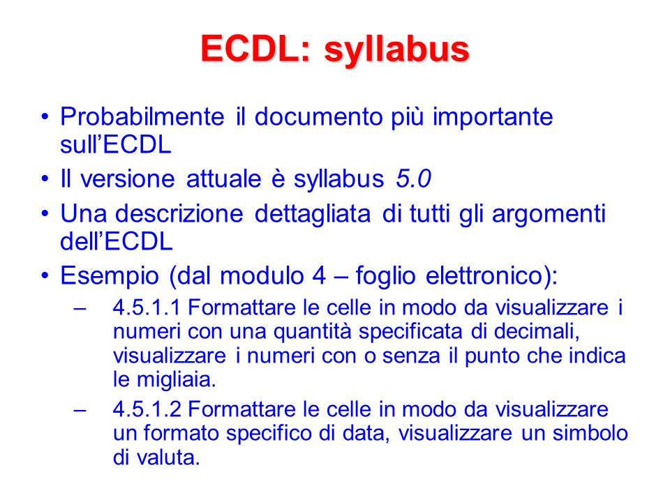 AICA AICA: Associazione Italiana per l Informatica ed il Calcolo Automatico Un ruolo istituzionale di AICA è la certificazione delle competenze informatiche europee ai vari livelli, lECDL incluso Sito web dellECDL di AICA: http://www.ecdl.it/