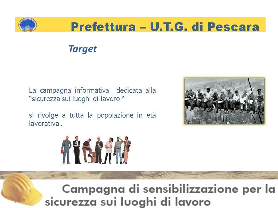 Target La campagna informativa dedicata alla sicurezza sui luoghi di lavoro si rivolge a tutta la popolazione in età lavorativa.
