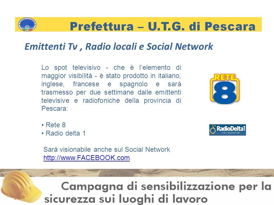 Emittenti Tv, Radio locali e Social Network Lo spot televisivo - che è lelemento di maggior visibilità - è stato prodotto in italiano, inglese, francese e spagnolo e sarà trasmesso per due settimane dalle emittenti televisive e radiofoniche della provincia di Pescara: Rete 8 Radio delta 1 Sarà visionabile anche sul Social Network http://www.FACEBOOK.com