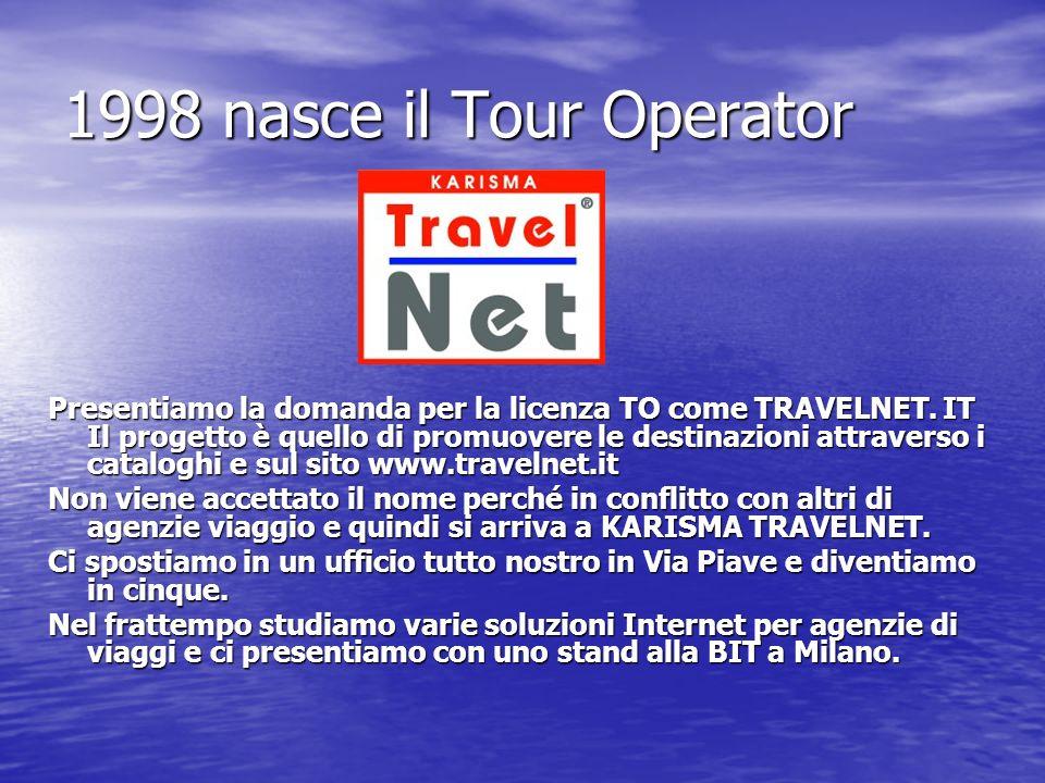 1998 nasce il Tour Operator Presentiamo la domanda per la licenza TO come TRAVELNET. IT Il progetto è quello di promuovere le destinazioni attraverso