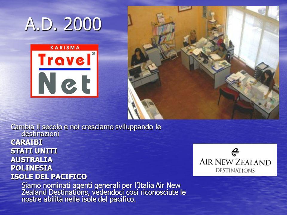 A.D. 2000 Cambia il secolo e noi cresciamo sviluppando le destinazioni CARAIBI STATI UNITI AUSTRALIAPOLINESIA ISOLE DEL PACIFICO Siamo nominati agenti
