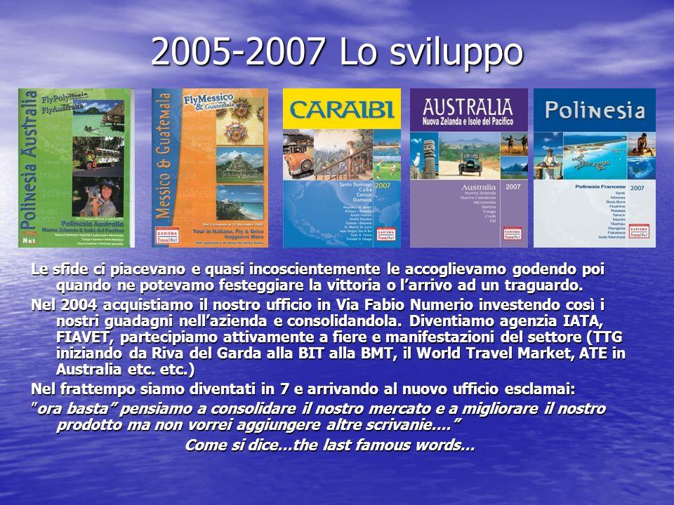 2005-2007 Lo sviluppo Le sfide ci piacevano e quasi incoscientemente le accoglievamo godendo poi quando ne potevamo festeggiare la vittoria o larrivo