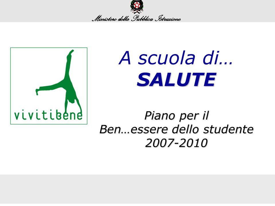 A scuola di…SALUTE Piano per il Ben…essere dello studente 2007-2010