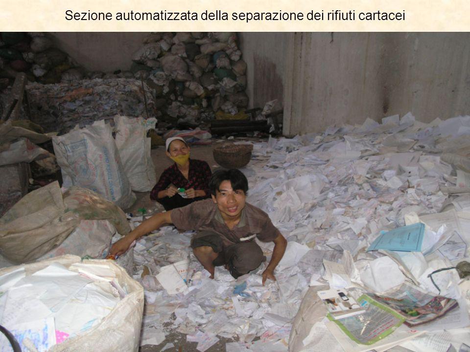Sezione automatizzata della separazione dei rifiuti cartacei