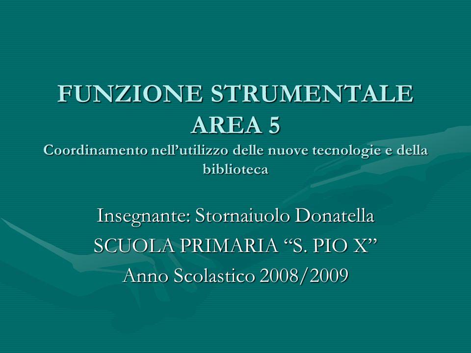 FUNZIONE STRUMENTALE AREA 5 Coordinamento nellutilizzo delle nuove tecnologie e della biblioteca Insegnante: Stornaiuolo Donatella SCUOLA PRIMARIA S.
