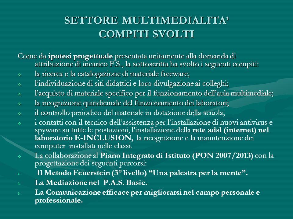 SETTORE MULTIMEDIALITA COMPITI SVOLTI Come da ipotesi progettuale presentata unitamente alla domanda di attribuzione di incarico F.S., la sottoscritta
