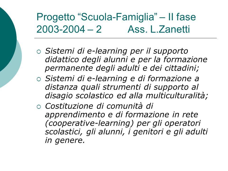 Progetto Scuola-Famiglia – II fase 2003-2004 – 2Ass. L.Zanetti Sistemi di e-learning per il supporto didattico degli alunni e per la formazione perman