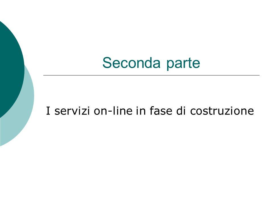 Seconda parte I servizi on-line in fase di costruzione