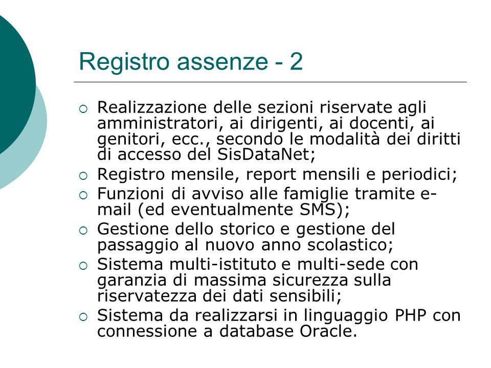 Registro assenze - 2 Realizzazione delle sezioni riservate agli amministratori, ai dirigenti, ai docenti, ai genitori, ecc., secondo le modalità dei d