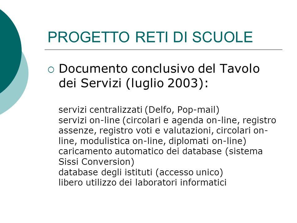PROGETTO RETI DI SCUOLE Documento conclusivo del Tavolo dei Servizi (luglio 2003): servizi centralizzati (Delfo, Pop-mail) servizi on-line (circolari