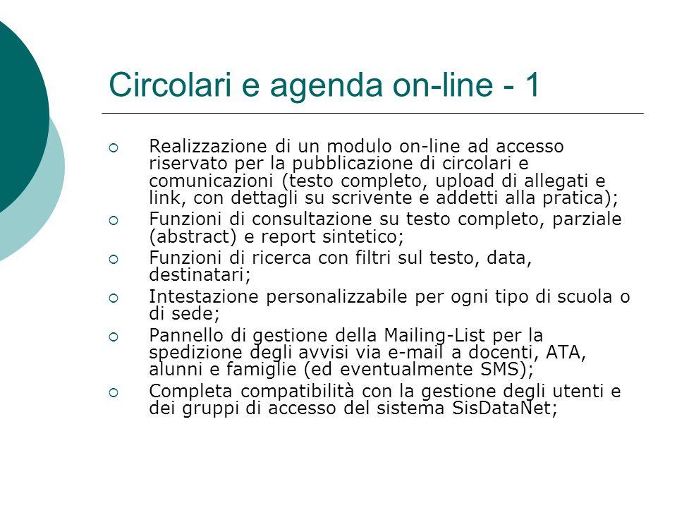 Circolari e agenda on-line - 1 Realizzazione di un modulo on-line ad accesso riservato per la pubblicazione di circolari e comunicazioni (testo comple