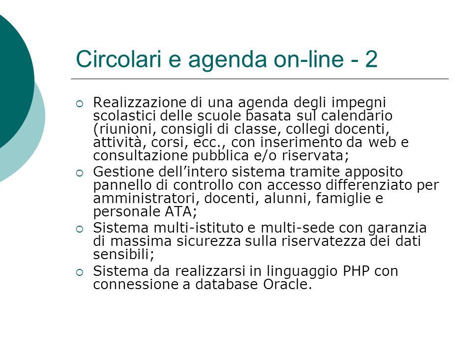 Circolari e agenda on-line - 2 Realizzazione di una agenda degli impegni scolastici delle scuole basata sul calendario (riunioni, consigli di classe,