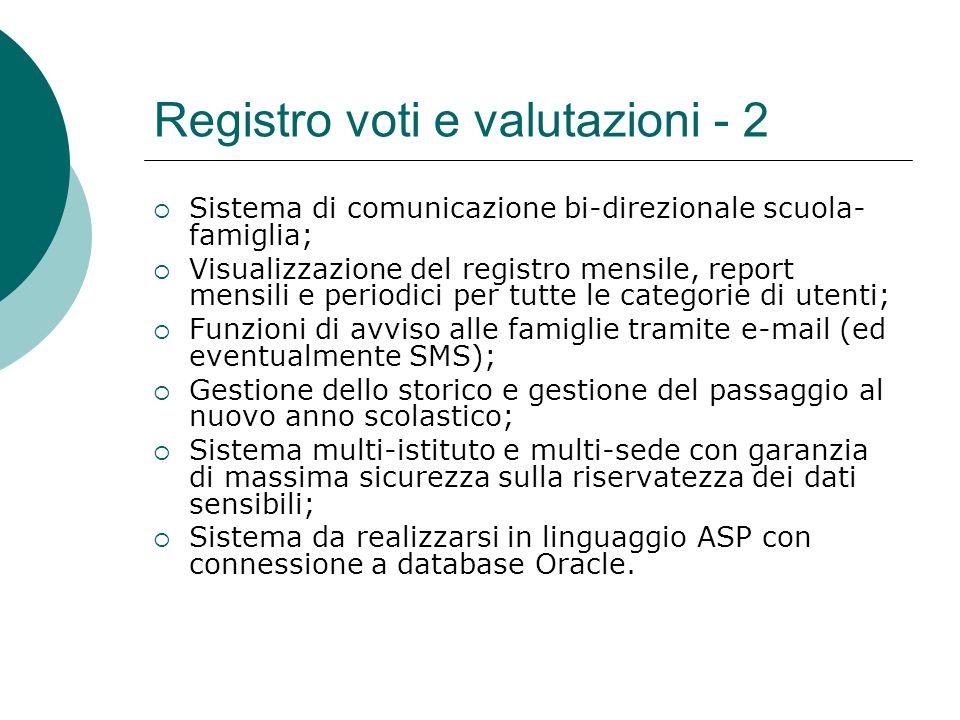 Registro voti e valutazioni - 2 Sistema di comunicazione bi-direzionale scuola- famiglia; Visualizzazione del registro mensile, report mensili e perio