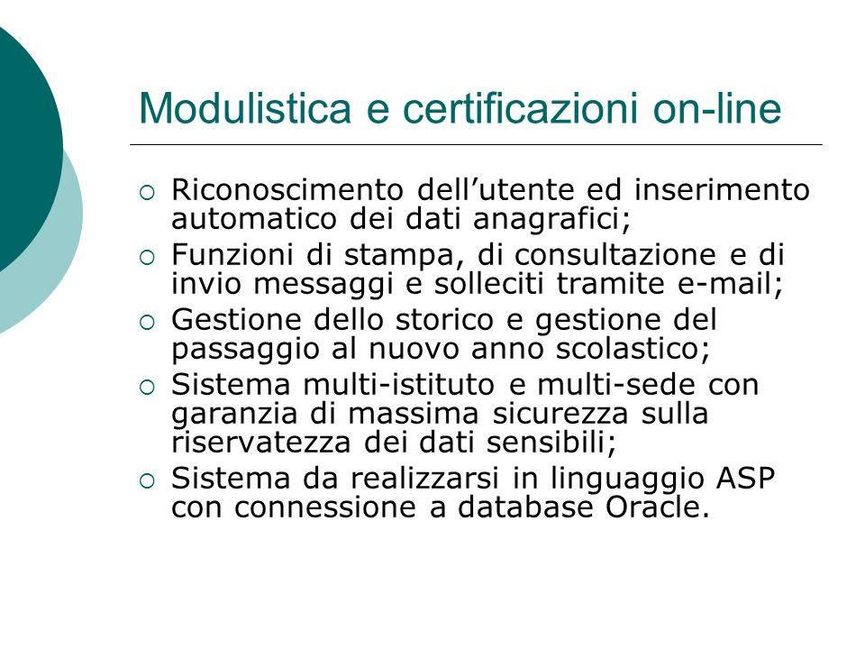 Modulistica e certificazioni on-line Riconoscimento dellutente ed inserimento automatico dei dati anagrafici; Funzioni di stampa, di consultazione e d